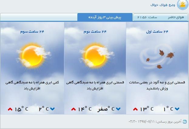 پیش بینی هوای سه روز آینده خواف