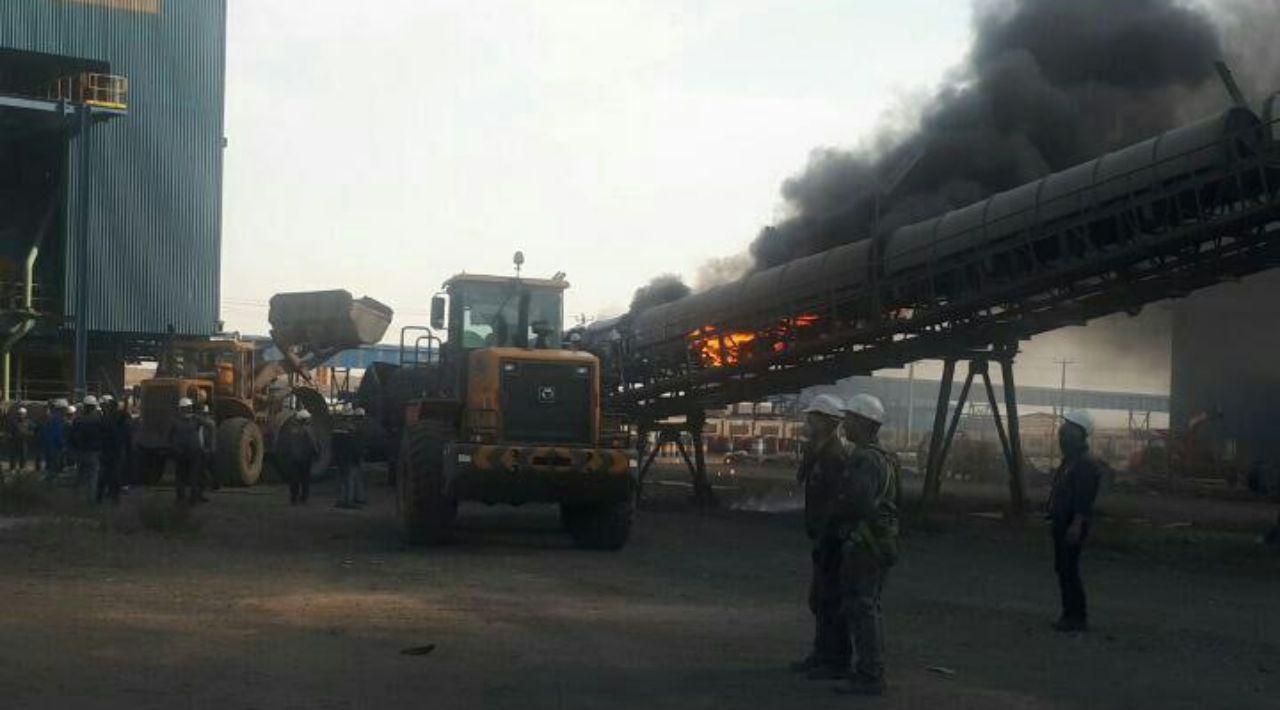 آتش سوزی در کارخانه کنسانتره گروه توسعه ملی سنگان